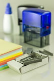 Supplies staples. Office supplies, stamps and ink stock photos