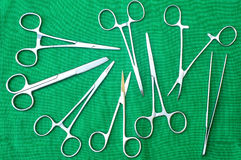 Supplies surgical instruments for surgery Stock Image