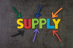 Supply, amount of something that firms, providers provide to mar. Ketplace, multiple arrow pointing to colorful alphabet building the word SUPPLY at the center royalty free stock photo