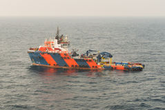 Supply boat. In oilfield and cargo Royalty Free Stock Photos