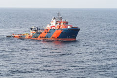 Supply boat. In oilfield and cargo Stock Photos