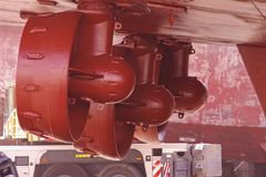 Supply boat, propulsion equipment with three independant propellers. stock photos