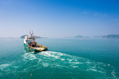 Supply boat towing rig Stock Image