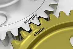 Supply Chain on aMechanism of silver and bronze Stock Photography