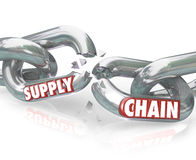Supply Chain Broken Links Severed Relationships. The words Broken Promise on chain links breaking apart to symbolize unfaithfulness, violation, mistrust, lies Royalty Free Stock Photography
