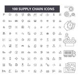 Supply chain editable line icons, 100 vector set, collection. Supply chain black outline illustrations, signs, symbols royalty free illustration