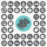Supply chain and logistics icons set. Stock Photography