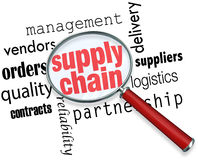 Supply Chain Logistics Magnifying Glass Words. Supply Chain words under a magnifying glass to illustrate logistics management and expertise Royalty Free Stock Photos
