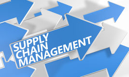 Supply Chain Management. 3d render concept with blue and white arrows flying over a white background Stock Images