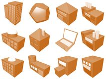 Supply Chain Management Icon Symbol Set. A series of objects for supply chain management diagrams and industry related stock illustration