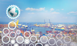 Supply chain management logistics. For import export background Stock Photo