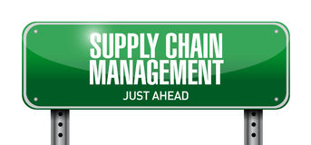 Supply chain management road sign illustration Stock Photo