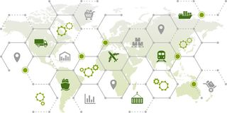 Supply chain management - shipping, trade & logistics: illustration. Abstract concept in green/grey color with interconnected icons representing supply chain Royalty Free Stock Photo