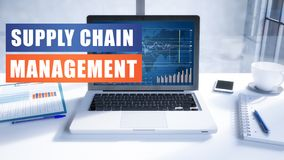 Supply Chain Management. Text concept with modern laptop screen in office environment. 3D render illustration business text concept Royalty Free Stock Photo