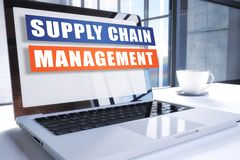 Supply Chain Management. Text on modern laptop screen in office environment. 3D render illustration business text concept Royalty Free Stock Photos