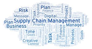 Supply Chain Management word cloud, made with text only. Supply Chain Management word cloud, made with text only vector illustration