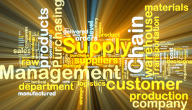 Supply chain management wordcloud glowing Stock Photo
