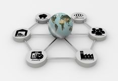 Supply Chain network with earth globe Stock Photos