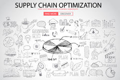 Supply Chain optimization concept with Doodle design style Royalty Free Stock Photos