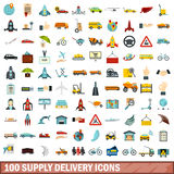 100 supply delivery icons set, flat style. 100 supply delivery icons set in flat style for any design vector illustration Royalty Free Stock Photography