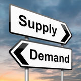 Supply and demand. Illustration depicting a roadsign with a supply or demand concept. Dusk background Stock Image