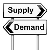 Supply and demand. Illustration depicting a roadsign with a supply or demand concept.White background Stock Photos