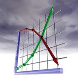 Supply and Demand. An illustration of supply and demand curves with clouds overhead Royalty Free Stock Photography