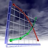 Supply and Demand. An illustration of supply and demand curves with storm clouds overhead Stock Photo