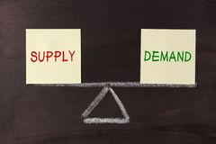 Supply and Demand Balance. Concept on blackboard royalty free stock image