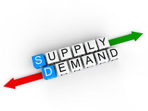 Supply and Demand. 3D render of white cubes with alphabets arranged to form the word supply, demand along with red and green arrows in opposite direction Stock Photography