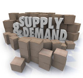 Supply and Demand 3d Words Cardboard Boxes Inventory. Supply and Demand 3d Words in cardboard boxes as inventory at a business or company warehouse Royalty Free Stock Image