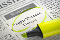 Supply Demand Planner Join Our Team. 3D. Supply Demand Planner - Small Advertising in Newspaper, Circled with a Yellow Highlighter. Blurred Image. Selective Royalty Free Stock Photos