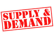 SUPPLY & DEMAND. SUPPLY & DEMAND red Rubber Stamp over a white background Royalty Free Stock Photo