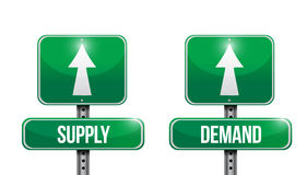 Supply and demand road sign illustrations Royalty Free Stock Photos