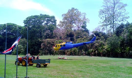 Supply of food by helicopter in the natural park corcovado Royalty Free Stock Images