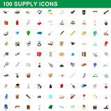 100 supply icons set, cartoon style. 100 supply icons set in cartoon style for any design vector illustration Royalty Free Stock Images
