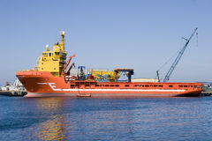 Supply ship. Used to supply the oil rigs in the North Sea royalty free stock photography