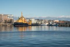 Supply ship in harbor Stock Image