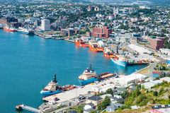 Supply ships docked in St. John's Harbour. Stock Photos