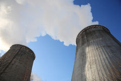 Supply smokestacks in winter Stock Photography