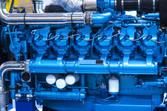 Supply system for diesel fuel, clean motor block, diesel engine detail royalty free stock photography