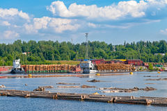 Supply of timber to riverfront papermill Stock Photography