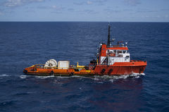 Supply vessel. Cable supply vessel in offshore area Royalty Free Stock Images