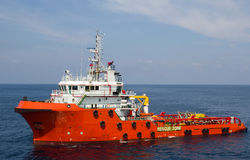 Supply vessel. Close-up of a supply vessel transporting cargo to offshore rigs, South China Sea Royalty Free Stock Photo