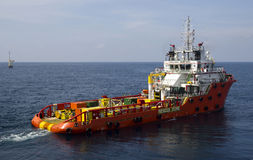 Supply vessel. Close-up of a supply vessel transporting cargo to offshore rigs, South China Sea Stock Photography