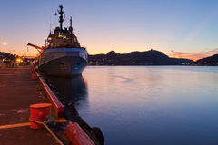 Supply Vessel. A supply vessel moored at dock Stock Images
