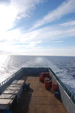 Supply vessel sailing in calm weather. In the North Sea outside Norwegian coast Royalty Free Stock Image