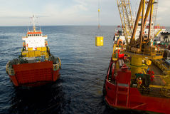Supply vessel. Transporting cargo to offshore rigs, South China Sea Stock Photography
