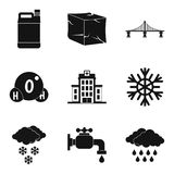Supply of water icons set, simple style. Supply of water icons set. Simple set of 9 supply of water vector icons for web isolated on white background royalty free illustration