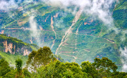 Supply winding road passes most dangerous Ha Giang Stock Photo